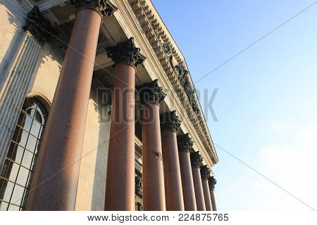 St. Petersburg Saint Isaac's Cathedral Colonnade in Russia. Granite and Lapis Lazuli Columns Neoclassical Architecture. Historical City Landmark Details of Pillars, Popular Tourist Attraction.