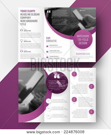 Design A Tri-fold Brochure With A Place For The Photo, Diagonal Elements And A Floating Rectangle Fo