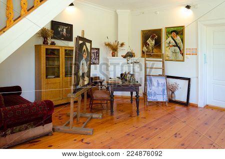 ZDRAVNEVO, BELARUS - MAY 18, 2017: Interior of museum-estate of great Russian artist Ilya Repin