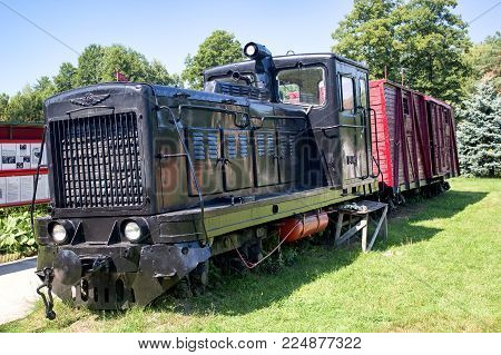 DRUSKININKAI, LITHUANIA - AUGUST 4, 2015: An old soviet train, where prisoners were escorted to the gulag. Grutas park near Druskininkai, Lithuania.