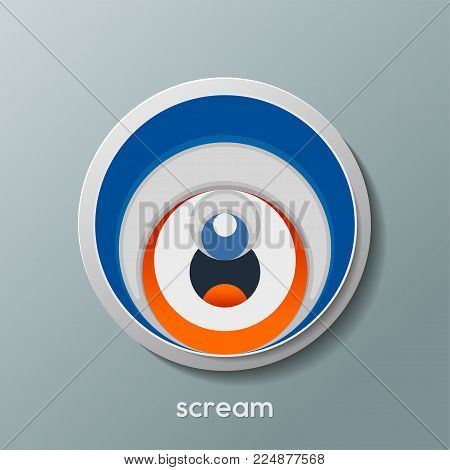 scream icon from the circle shape with trendy color is suitable for your design element