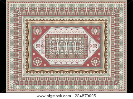 Original luxurious delicate vintage oriental rug with light green and dirty pink shades