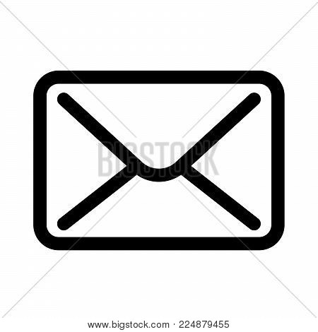 Mail envelope icon. Symbol of e-mail communication or post office. Outline modern design element. Simple black flat vector sign with rounded corners.