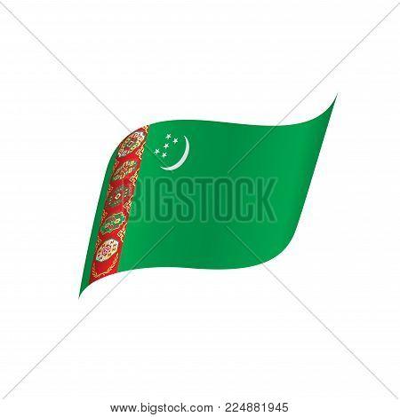Turkmenistan flag, vector illustration on a white background