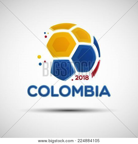 Football championship banner. Flag of Colombia. Vector illustration of abstract soccer ball with Colombian national flag colors for your design