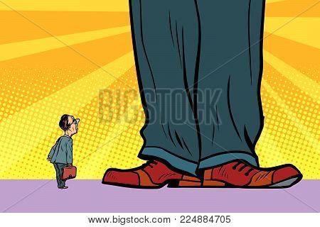 little man and giant boss. Comic book cartoon pop art retro drawing illustration