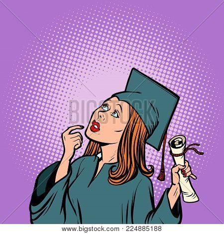 girl graduate thought, the student of College and University. Comic book cartoon pop art retro illustration vector