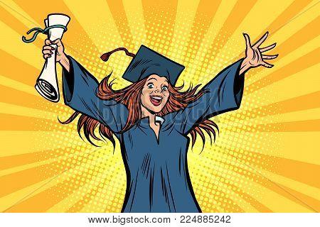 happy graduate girl student of the College or University. Comic book cartoon pop art retro illustration vector