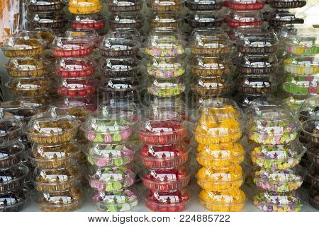 Dried fruits and Food product and gift souvenir at local shop for sale travelers people in Laem Phak Bia in Phetchaburi, Thailand