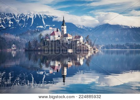 amazing View On Bled Lake, Island,Church And Castle With Mountain Range (Stol, Vrtaca, Begunjscica) In The Background-Bled,Slovenia,Europe