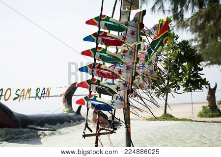 Toy Plane Made From Foam For Sale Travelers People At Hat Chao Samran Beach In Phetchaburi, Thailand