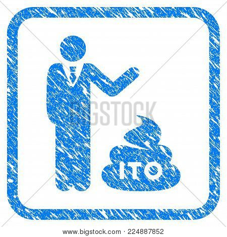 Businessman Show Ito Shit grungy textured icon inside rounded rectangle for overlay watermark imitations. Flat symbol with dirty texture.
