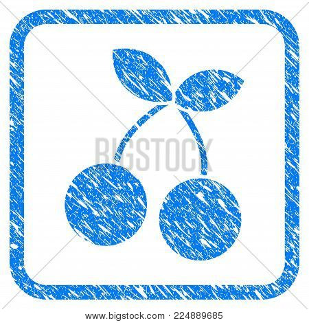 Cherry scratched textured icon inside rounded frame for overlay watermark stamps. Flat symbol with scratched texture. Framed vector blue rubber seal stamp with grunge design of cherry.