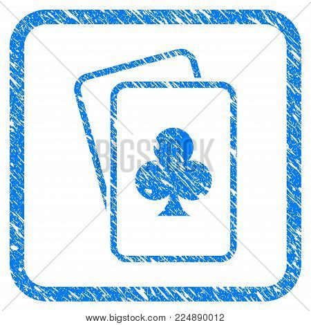 Clubs Gambling Cards scratched textured icon inside rounded square for overlay watermark imitations. Flat symbol with scratched texture.
