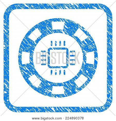 Cpu Casino Chip scratched textured icon inside rounded rectangle for overlay watermark stamps. Flat symbol with scratched texture.