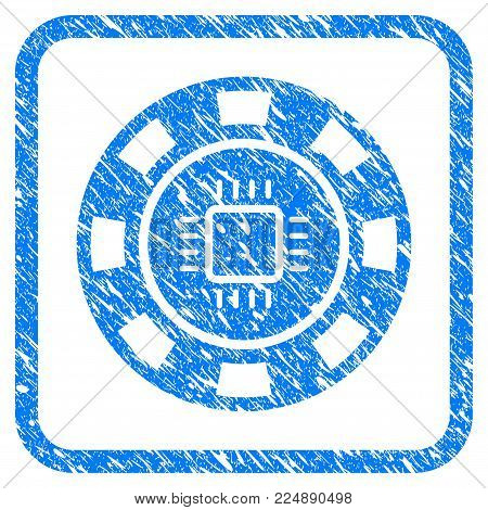 Cpu Casino Chip grungy textured icon inside rounded frame for overlay watermark imitations. Flat symbol with scratched texture.
