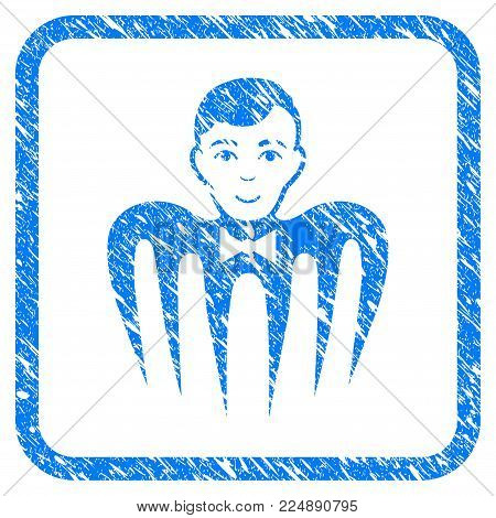 Croupier Spectre Monster grainy textured icon inside rounded frame for overlay watermark stamps. Flat symbol with dust texture.