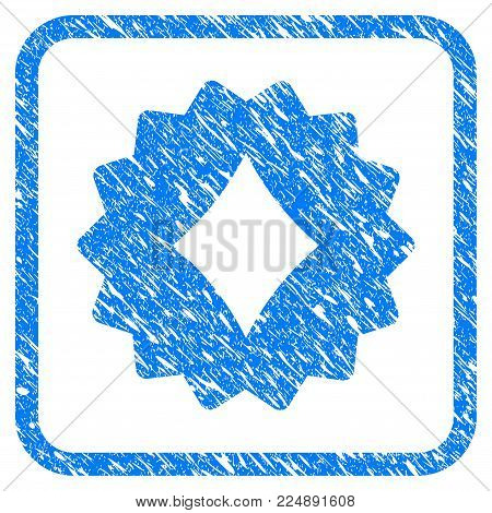 Diamonds Token grunge textured icon inside rounded rectangle for overlay watermark stamps. Flat symbol with dust texture. Framed vector blue rubber seal stamp with grunge design of diamonds token.