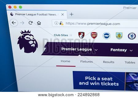 London, Uk - December 4th 2017: The Homepage Of The Official Website For The Premier League - The En