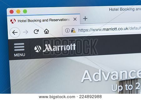 London, Uk - December 4th 2017: The Homepage Of The Official Website For Marriott International Inc