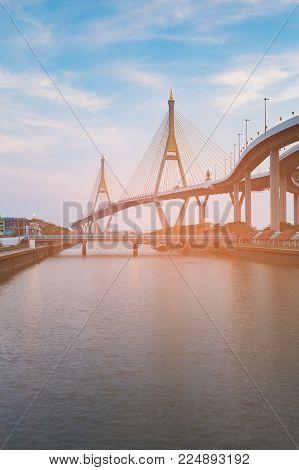 Under steel suspension bridge over ocean, Kobe Japan