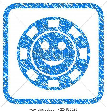 Glad Casino Chip grungy textured icon inside rounded frame for overlay watermark stamps. Flat symbol with unclean texture. Framed vector blue rubber seal stamp with grunge design of glad casino chip.