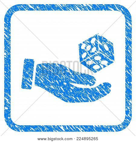 Hand Throw Dice scratched textured icon inside rounded frame for overlay watermark stamps. Flat symbol with dust texture. Framed vector blue rubber seal stamp with grunge design of hand throw dice.