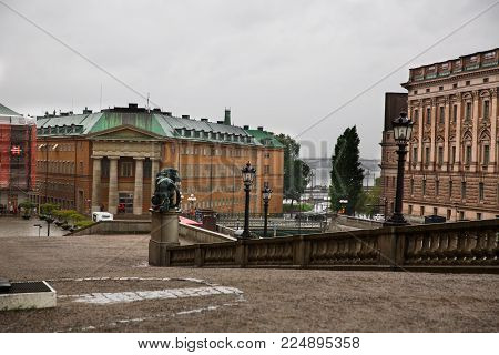 Stockholm, Sweden - August 11, 2014 - City view from the Royal Palace, rainy day.