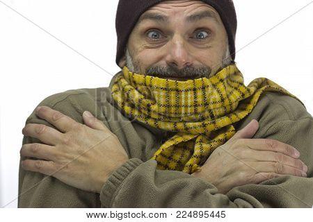 Smiling Mature Man Freezing Over White Background