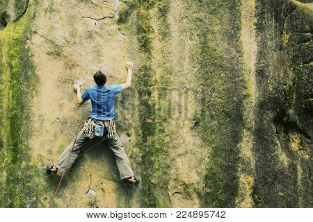 Climber To Climb A Big Wall.