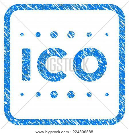 Ico Caption grunge textured icon inside rounded square for overlay watermark stamps. Flat symbol with dirty texture. Framed vector blue rubber seal stamp with grunge design of ico caption.