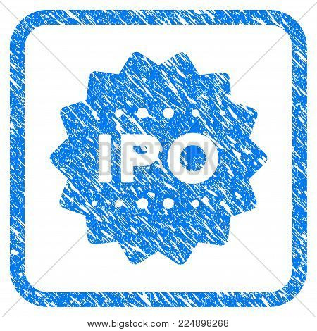 Ipo Token grunge textured icon inside rounded rectangle for overlay watermark imitations. Flat symbol with dust texture. Framed vector blue rubber seal stamp with grunge design of ipo token.