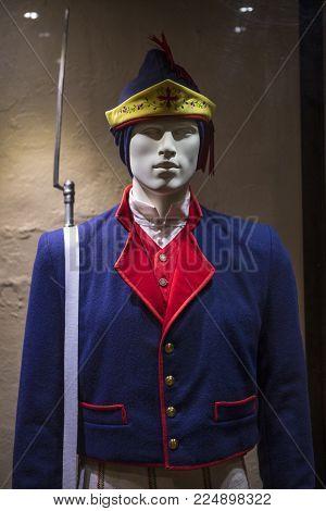 Lanzarote, Spain - January 19th 2018: A Historic Spanish Soldier Uniform On Display At Castillo De S