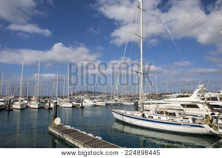 Lanzarote, Spain - January 20th 2018: A View Of The Boats Moored In Playa Blanca Marina On The Volca