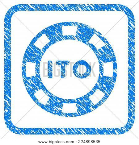 Ito Token scratched textured icon inside rounded rectangle for overlay watermark imitations. Flat symbol with scratched texture. Framed vector blue rubber seal stamp with grunge design of ito token.