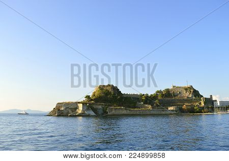 Corfu town, Corfu, Greece - October 01, 2017 : The Old Venetian fortress a Venetian fortress in the city of Corfu.