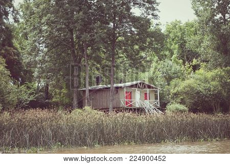 Old vintage shed on the Tigre river Delta. Buenos Aires