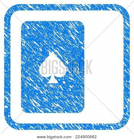 Peaks Playing Card grunge textured icon inside rounded frame for overlay watermark imitations. Flat symbol with unclean texture.