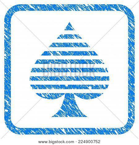 Peaks Suit grungy textured icon inside rounded frame for overlay watermark imitations. Flat symbol with scratched texture. Framed vector blue rubber seal stamp with grunge design of peaks suit.
