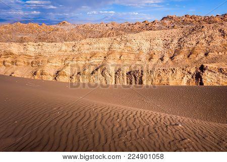Sand dunes landscape in Valle de la Luna, San Pedro de Atacama, Chile