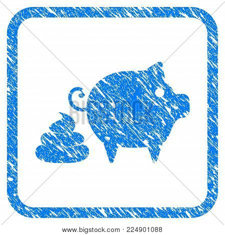 Pig Shit scratched textured icon inside rounded rectangle for overlay watermark imitations. Flat symbol with scratched texture. Framed vector blue rubber seal stamp with grunge design of pig shit.