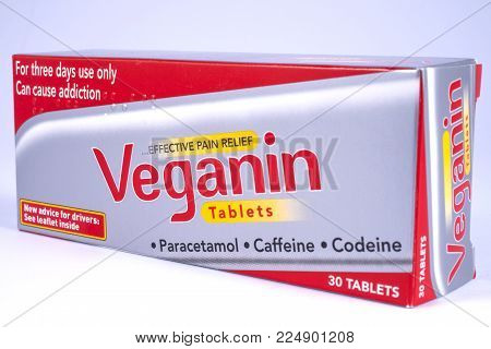 London, Uk - December 18th 2017: A Close-up Of A Packet Of Veganin Tablets, On 18th December 2017.