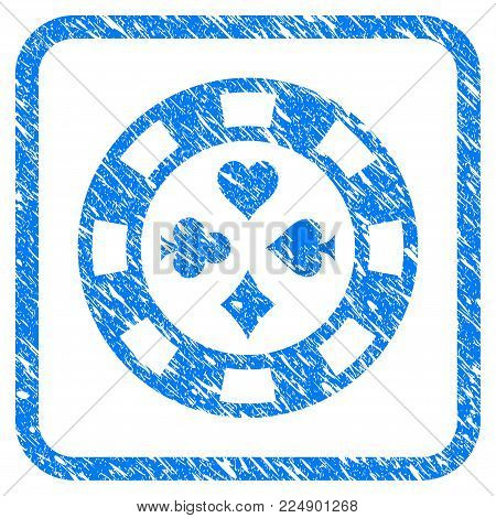 Poker Casino Chip scratched textured icon inside rounded rectangle for overlay watermark stamps. Flat symbol with scratched texture.