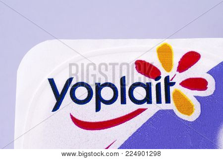 London, Uk - December 18th 2017: A Close-up Of The Yoplait Logo, On 18th December 2017.  Yoplait Is