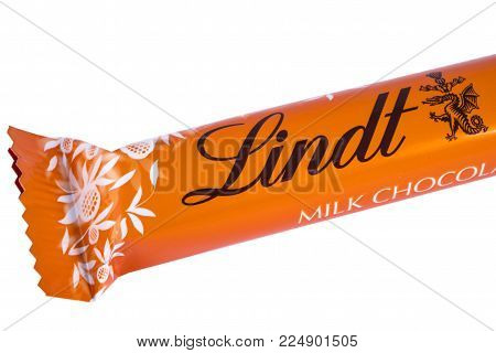 London, Uk - December 18th 2017: Close-up Of The Lindt Logo On A Chocolate Bar, On 18th December 201
