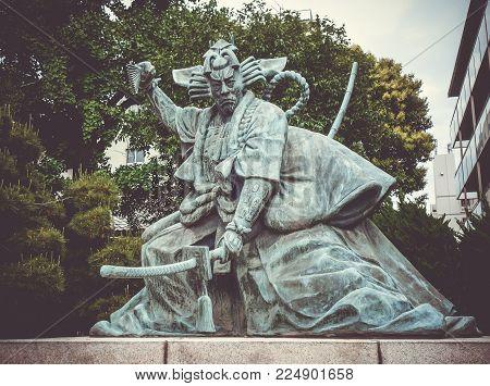 Samurai statue in Senso-ji Kannon temple, Tokyo, Japan