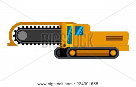 Track chain trencher machine minimalistic icon isolated. Construction equipment isolated vector. Heavy equipment vehicle. Color icon illustration on white background.
