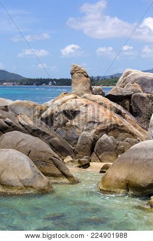 Hin Ta and Hin Yai Rocks , grandmother and grandfather rock in island Koh Samui, Thailand