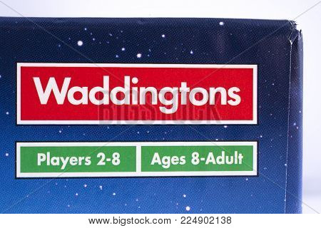 London, Uk - December 18th 2017: A Close-up Of The Waddingtons Logo On The Packaging Of A Board Game