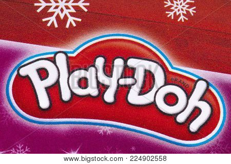 London, Uk - December 18th 2017: The Play-doh Logo Printed In A Tesco Toys Catalogue, On 18th Decemb